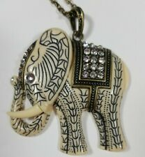 Rhinestone Elephant Pendant Chain Necklace Resin White and Blue Asian