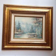 VTG  Artist Signed G. Weaver? G. Wetner? Original Whinter Painting Gold Frame