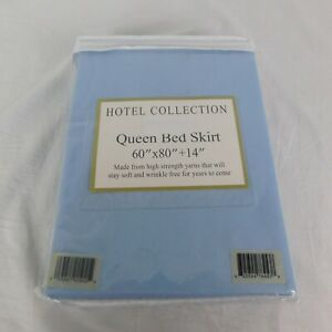 "Hotel Collection Queen Bed Skirt Blue 60"" x 80"" x 14"" Drop New Old Stock"