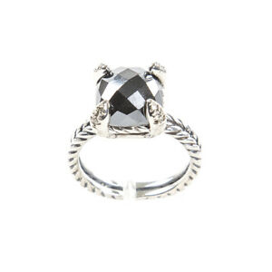 DAVID YURMAN Chatelaine Ring with Hematine & Diamonds 11mm Sz 6 $650 NEW