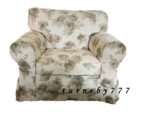 IKEA Ektorp Chair Slipcover Norlida Beige And White Floral Armchair Cover New