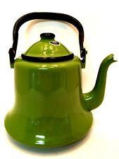 Coffee Tea Kettle Vintage Avocado Green Enamel Rare Made in Japan 10.5 in Tall