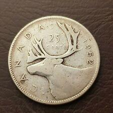 1952 Canada Silver 25 Cent Quarter George VI Coin 25 Cents