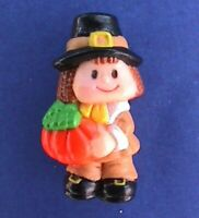 Russ PIN Thanksgiving Vintage PILGRIM Pumpkin BOY TAN SUIT Holiday Brooch
