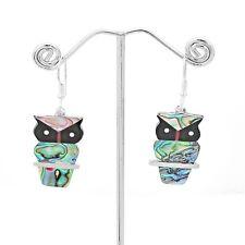 Artisan Abalone Owl Búho Buho Silver Earrings Taxco Mexico