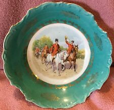 Fox Hunt Hunting German Decorative Bowl Turquoise and Gold Trim.