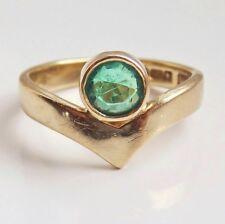 Stunning Vintage 9ct Gold Emerald set Wishbone Ring c1992; UK Ring Size 'G'