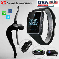 X6 Curved Screen Bluetooth Smart Watch Phone Mate for Samsung/iPhone/Android wi