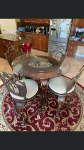 Ashley Glass Dining Table With 4 Chairs Set