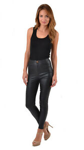 Womens High Waisted Leather Look Trousers PVC Stretch Skinny Jeans Pants Black