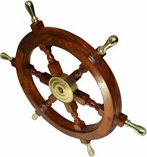New Vintage Style Nautical Ship Wheel with Brass Accents Boat's Wheel and wood