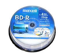 30 Maxell Blu Ray Video Discs BD-R 25GB Inkjet Printable 4x Speed Bluray Disk
