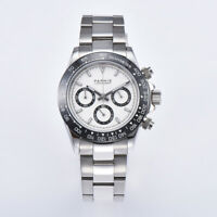 40mm PARNIS Men's Watch Full Chronograph Sapphire Crystal white dial glowing