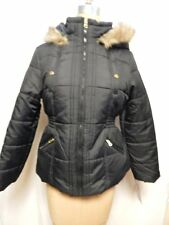 Krush Juniors Faux Fur Trim Hooded Puffer Jacket XL Black  NWT