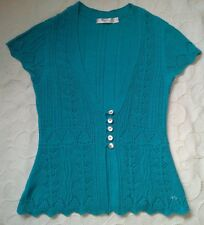 LOVELY LADIES AQUA BLUE INTRICATE FINE KNIT M&CO CARDIGAN ,  SIZE PETITE SMALL