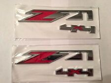 Two (2) Red/Chrome Z71 4x4 Emblems GMC Chevy Silverado Sierra Tahoe Suburban