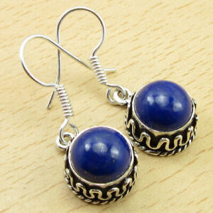 """Latest Style 925 Silver Plated Lapis Lazuli Earrings 1.3"""" Real Stone Jewelry"""