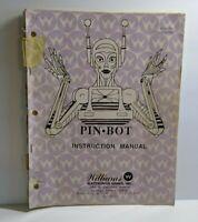 Williams PINBOT Original Pinball Machine INSTRUCTION MANUAL NOT COMPLETE 1986