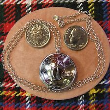 SILVER PLATED second hand hand made half penny pendant