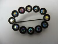 Beautiful, old Brooch, Silver With Polished Stones, Lapel Pin