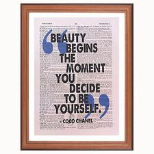 CoCo Chanel quote - Beauty Begins... dictionary page wall art print gift