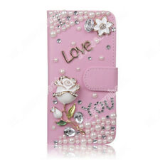 New Luxury Wallet PU Leather Phone Cover Case Bling Jewelled Flip Cases For LG