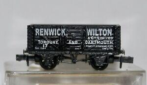 Peco N Gauge 7 Plank Wagon 'Renwick, Wilton & Co. Ltd' Torquay & Dartmouth Used