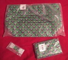 Vera Bradley Emerald Diamonds Slim Strap Tote Accordian Wallet & Keychain -  NWT
