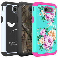 For Samsung Galaxy J3 Mission Phone Case Hard Silicone Hybrid Protective Cover
