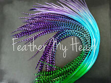 Feather Hair Extensions Extra Long Multi Rainbow Ombre Tye Dye Fade Whiting