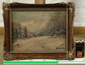 Rolf Sigurd 1893-1943 Oil Painting Antique Winter Landscape Forest Snow Fir Tree