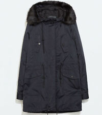 Zara Women's Jacket Size XS Dark Blue Parka Faux Fur Hood Insulated Coat NWT