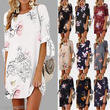 Womens Long Tops Blouse Floral Ladies Summer Beach Tunic Dress Plus Size 6-22 G