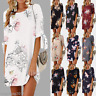 Womens Floral Long Tops Blouse Ladies Summer Beach Tunic Dress Plus Size 6-22