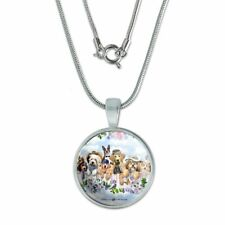 """Dogs Outdoors on Fence Pattern 0.75"""" Pendant with Sterling Silver Plated Chain"""