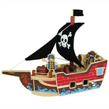 Pirate Ship Wooden Toy Playset Boys Gift Present Idea 31 Piece Set from QPACK