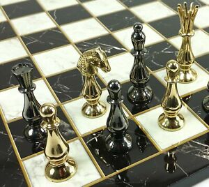 """BRASS METAL Spiked Qn Staunton Chess Set Gold & Black W/ 17"""" Faux Marble Board"""