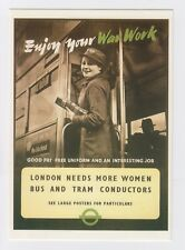 WW2 London Transport Museum Bus and Tram Conductors Card