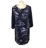Beautiful JOULES Navy Shift Sheath Dress Lined Deer Forest Print Uk Size 12