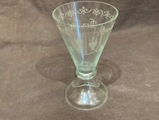 Antique hand blown wine glass roemer dated 1919 with 1638 armorial crest 4.5�