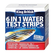 King British Water Test kit 6 in 1 Aquarium Pond Nitrate pH NO3 Ammonia GH KH