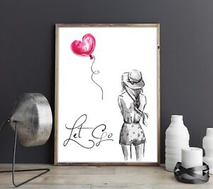 Let go Grey and Pink Girl with Heart Balloon Motivational Wall Art Print