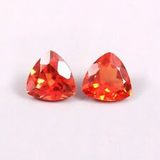 Natural Ceylon Orange Fanta Sapphire Loose Trillion Gemstone Cut Matched Pair8x8