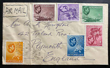 1952 Victoria Seychelles Airmail Cover To Plymouth England