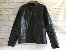 Mens Guess PU Leather Motorcycle Jacket Size M