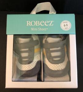 New Robeez Boys Everyday Ethan Mini Shoez 6-9 Mos Sz 3 Grey