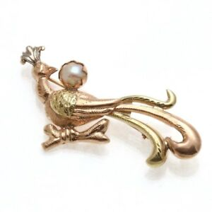 Vintage 14k rose yellow white gold Pearl Peacock Brooch Pin Engraved Estate