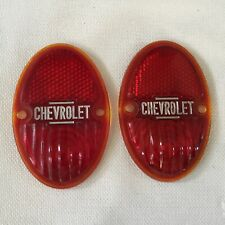 ORIGINAL ANTIQUE 1930's CHEVROLET GLASS TAIL LIGHT LENS ~ LOT OF 2