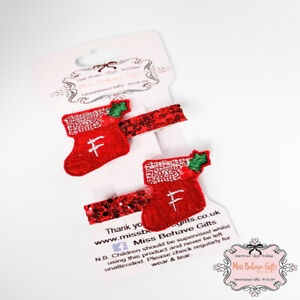 Personalised Christmas Stocking Hair Clips