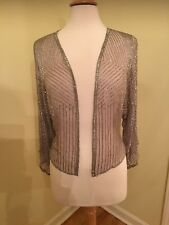 A REAL WOW! With tags, NEVER WORN Grey/Silver Elegant Silk sequins Jacket